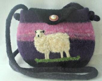 Felted Purse, Felted Handbag, Sheep Art, Needle Felt Sheep, Fiber Art, Felted Fantasies