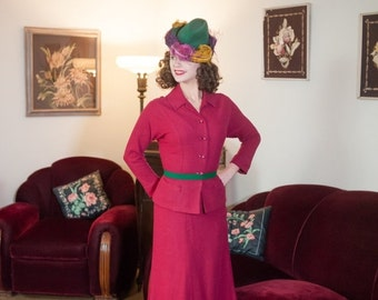 50% Year-End Clearance - Vintage 1950s Suit - Stunning Fuchsia Wool Knit Late 50s Skirt Suit with Rhinestone Buttons and Pockets