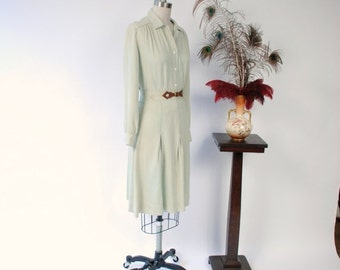 2 DAY SALE - Vintage 1940s Set - Soft Sage Green Gabardine Skirt Set with Western Inspired Belt Detail