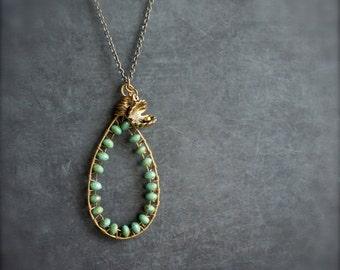ON SALE SALE - Green Sea Shell Pendant Necklace Brass Teardrop Beadwork Wire Wrap Sea Ocean Nautical  Boho Jewellery