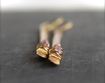 ON SALE Gold Brass Pink Amethyst Stick Dangle Earrings Wire Wrap Metalwork Long Shoulder Duster Gemstone Boho Jewellery