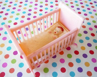 Vintage Mini Toy Pink Baby Bed Rocking Crib Mid Century Renwal Plastic Nursery Room Dollhouse Miniature