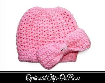 Pink Messy Bun Hat, Cotton Candy Pink, Pink Tobaggan Hat, Messy Bun, Pony Hat, Messy Bun Beanie, Crochet Bun Hat, Messy Ponytail Hat