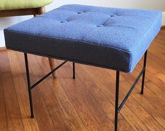 Vintage Mid Century Modern Stool with Cushion