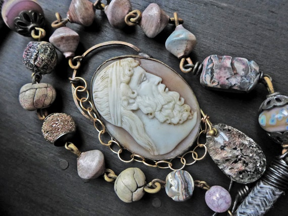Wearable art necklace with pastel chunky beaded chain and antique cameo pendant - Cronos