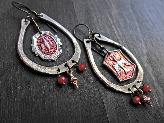 "Rustic handmade artisan earrings, ""Velleity"""