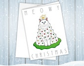 50% OFF TODAY ONLY - Meowy Christmas White Cat Tree Printable Holiday Card | Decorated Kitty Card