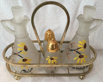 Vintage Anchor Hocking Frosted Glass Cruet Set Black Eyed Susan