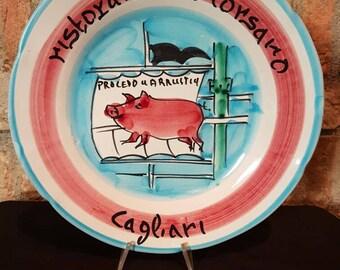 Vintage Italian Ceramic Solimene Vietri 1981 Buon Ricordo Restaurant Plate - CAGLIARI