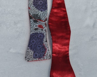 Vibrant Red and Black Upcycled Fabric Men's Bow Ties With Satin Made in Asheville, NC MM-#16-1