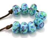 Sky Blue Luau Donut Handmade Lampwork Glass Beads (8 Count) by Pink Beach Studios (1484)
