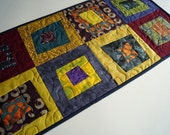 Quilted Table Runner in Modern, Funky and Colorful Patchwork