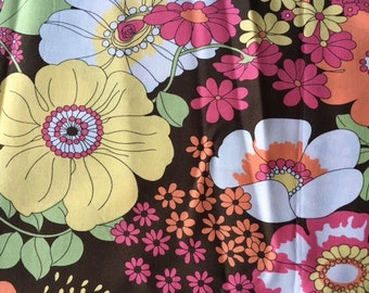 SALE.  Summer In The City --- Retro flowers on chocolate
