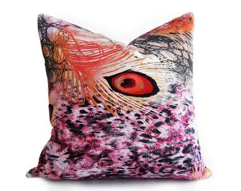 Cool Dorm Pillow Covers,  Pink Orange Teen Pillow, Peacock Feather Pillow, Colorful Digital Print Pillows, Boho Pillows, 18x18 Pillows