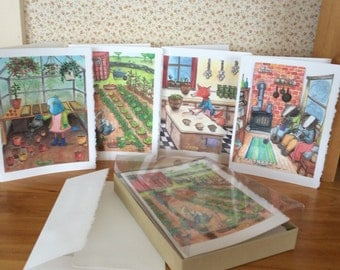 Box of 8 cards. The 4 Seasons. 2 of each season illustration. Greeting cards.