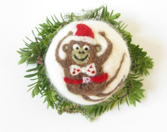 Monkey,Monkey Santa,Christmas ornament,Needle felt,Wool ornament,