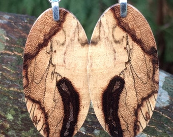 Reclaimed Wood Earrings Made From Resin Infused Spalted Tamarind