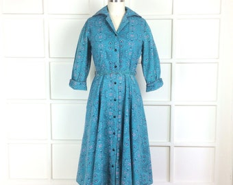 Vintage Early 60s Day Dress Cotton Paisley Wide Collar 3/4 Sleeves Button Front Shirtwaist Shirt Dress Penney's Brentwood 40 bust 1960s M L