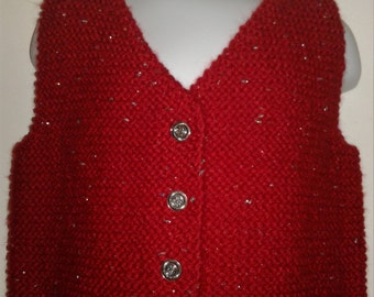 Hand Knit Child Red Sweater button Vest with Silver Sparkle, size 2T,