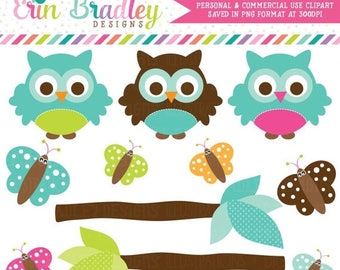 50% OFF SALE Owl Clipart Clip Art Personal & Commercial Use with Blue Green Brown Butterflies and Branches