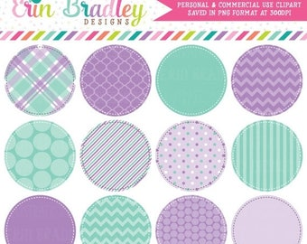 50% OFF SALE Purple and Aqua Blue Circle Frames Clipart Clip Art Commercial Use - Instant Download