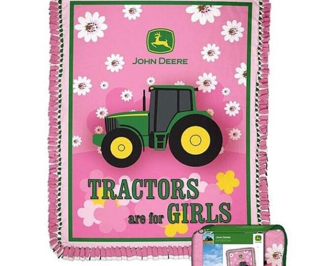 On Sale John Deere Girls Tractor Fleece No Sew Blanket Kit