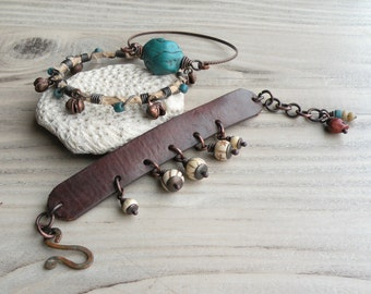 Rustic Boho Bracelet Set, Leather Cuff, Bangle Stack, Brown and Turquoise, Copper Bracelet, Handmade