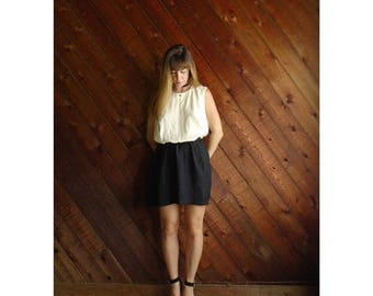 extra 30% off sale . . . Colorblock Mini Secretary Dress - Vintage 80s - M L - Sleeveless - Black and White