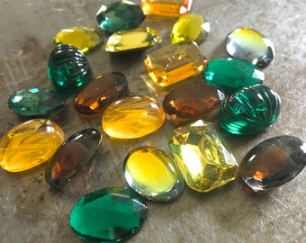 Ten Pairs Matched Vintage Glass Cabs 18x13mm Gold Coast Assortment