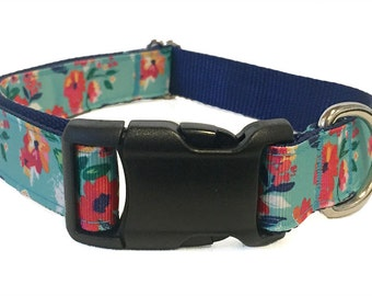 "Summer Floral Dog Collar 1"" Martingale Leash or Harness"