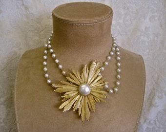 Golden Explosion: Gold Atomic Starburst Necklace Choker Pearls Futuristic Sunburst Statement Vintage Assemblage 70s Modernist One of a Kind