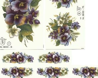 Decals for Ceramics, Floral, Vintage, Purple -BULK LOT