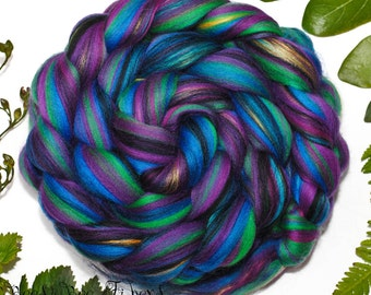 HARLEQUIN - Signature Custome Blend Merino and Mulberry Silk Combed Top Wool Roving for Spinning or Felting in bright colors -4 oz