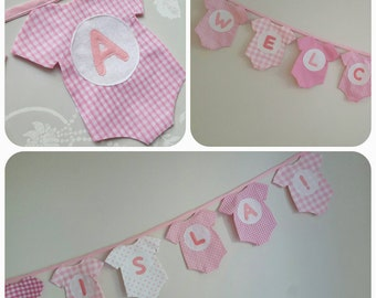 Baby Vest Banner - Baby Shower Bunting - Personalised Pink Baby room Decor - Photo Prop - It's a girl - Made to Order