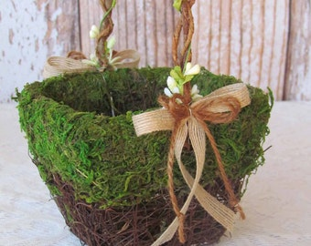 Small Moss Flower Girl Basket for your Woodland Wedding