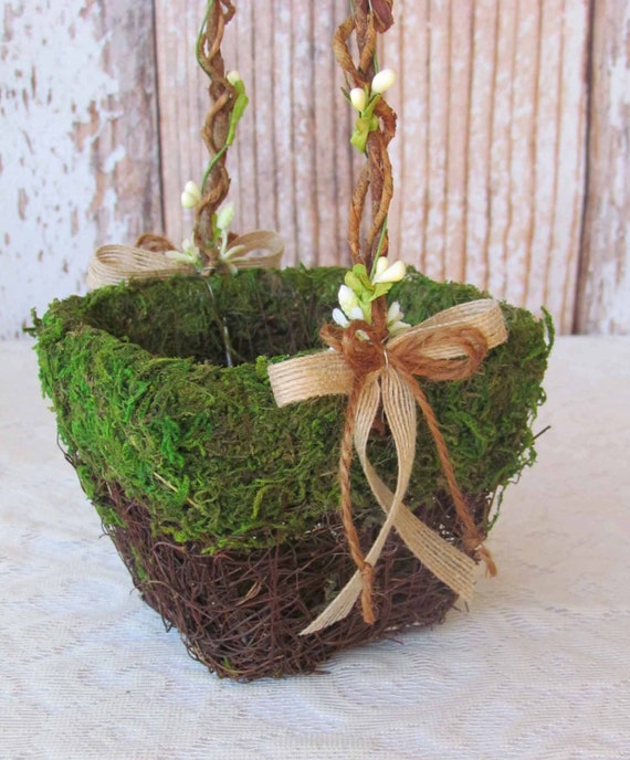Flower Girl Baskets Small : Small moss flower girl basket for your woodland wedding