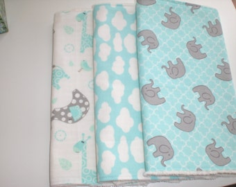 FREE SHIPPING Elephant baby burp cloths/burpies/burp rags