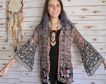 Elephant Print Boho Floral Paisley Tapestry India Print Flowy Bell Sleeve Kimono Sweater One Size