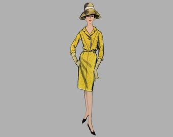 1960s One piece Dress Pattern Vogue 6039, Size 14, Bust 34, Straight skirt, Notch collar, 1 button closure, 3 quarter/Sleeveless, V neckline