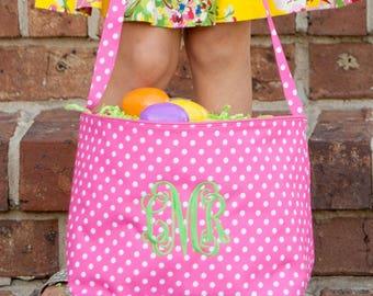 Pink Easter basket Easter bucket Spring break monogrammed Easter polka dots seersucker children girls toddlers first Easter BeachHouseDreams