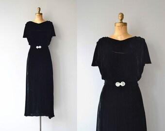 Shadow Lady silk velvet gown | vintage 1930s dress | silk velvet 30s dress