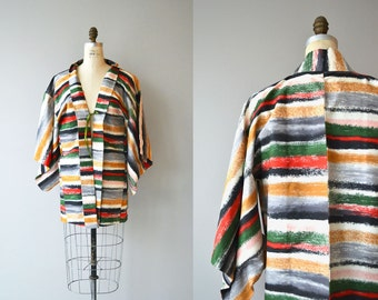 Sutoraipu silk haori | vintage silk haori | striped silk japanese jacket