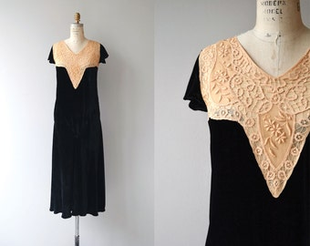 Despina silk velvet dress | antique 1920s dress | silk velvet and lace 20s dress