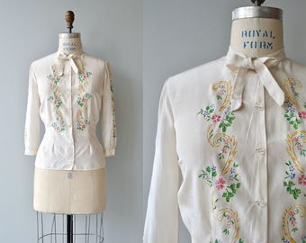 Petit Peintre silk blouse | vintage 1930s blouse | silk floral 30s blouse
