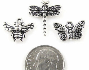 TierraCast Charm Mix-Silver Dragonfly, Butterfly & Bee (3 Pieces)