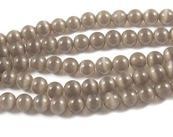 6mm Round Cat's Eye Beads-LIGHT BROWN (65 beads)