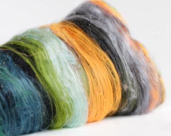 River Music 2.6 oz  Wool - Merino- Art Batt // Wool Art Batt for spinning or felting