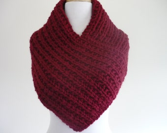 Knit Cowl, Knit Neck Warmer, Textured Rib Stitch Cowl Neck Warmer in Cranberry - Wool Blend - Soft Cowl - Warm Cowl - Gift for Her