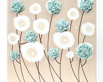 Textured Art - Teal Flower Painting of Roses on Small Canvas - Select a Size