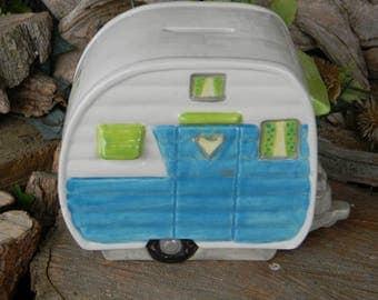 Camper  Fairy  House Ceramic skamper   Rv   Bank   fantasy fairy room decor glamping trailer